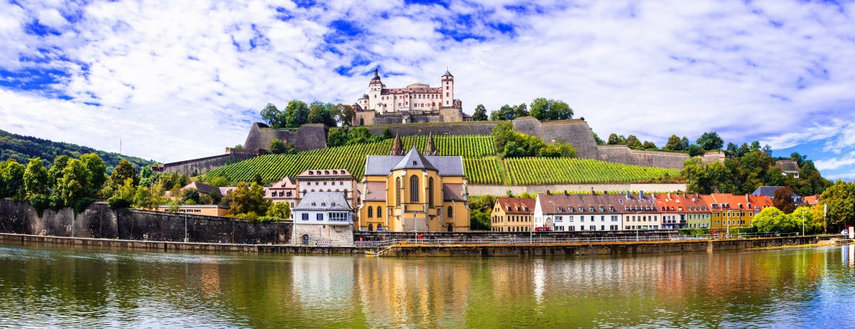 Authentic beautiful towns of Germany - Wurzburg, view with vineyards and castle