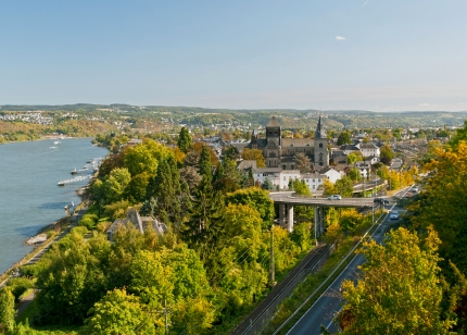 View on St. Peter and Paul church in Remagen and River Rhine