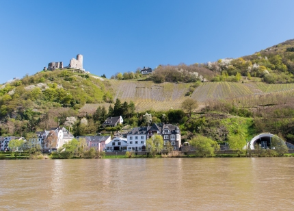 Bernkastel castle in Mosel by the Moselle River
