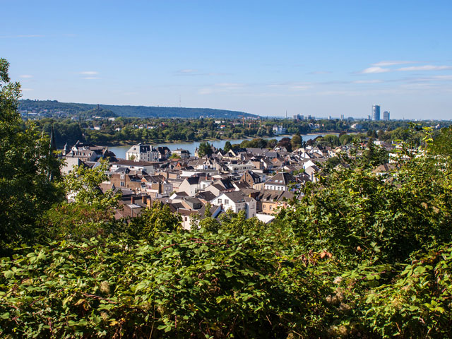 View on town Konigswinter and city Bonn in backgrounf, Germany