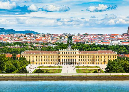 Beautiful view of famous Schonbrunn Palace with Great Parterre garden in Vienna