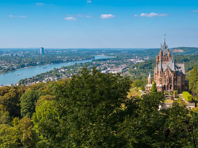 View of the Drachenburg Castle from the Drachenfels at Bonn, Germany