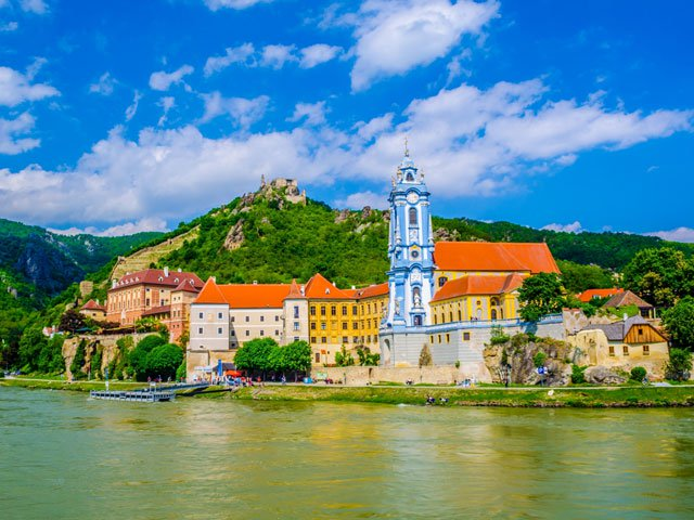 The medieval town of Durnstein along the Danube River in the picturesque Wachau Valley