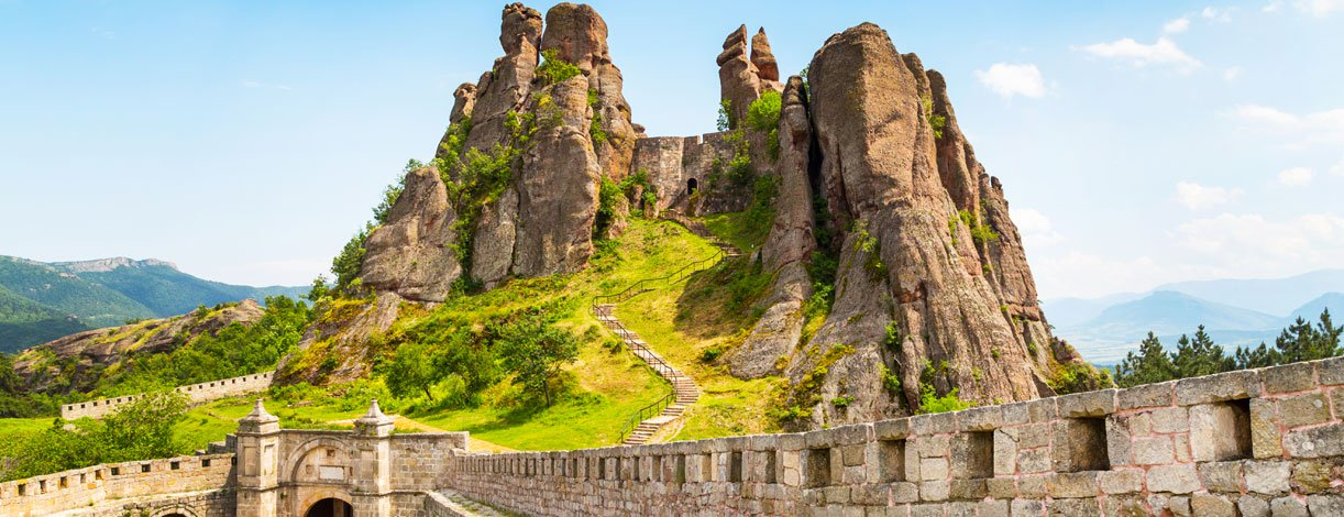 Vibrant image of Belogradchik cliff rocks at ancient Kaleto fortress, Bulgaria