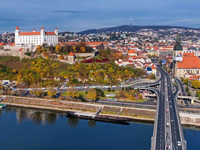 Bratislava, Slovakia, panoramic view with castle and old town