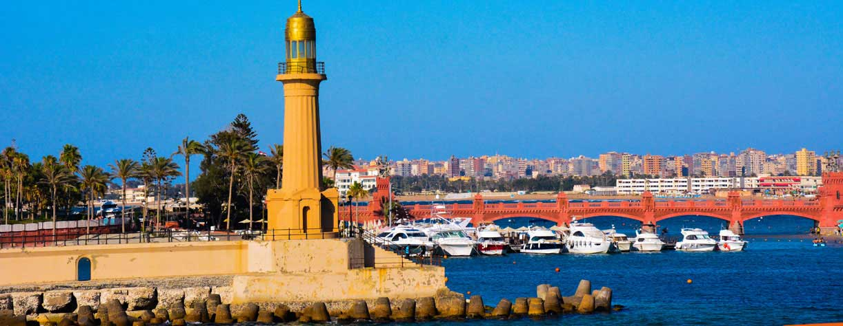 Lighthouse in Alexandria, Egypt.