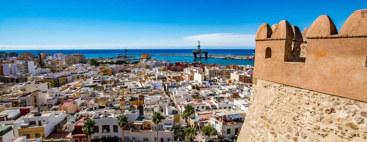 View of Almeria old town and port from the castle (Alcazaba of Almeria), Spain