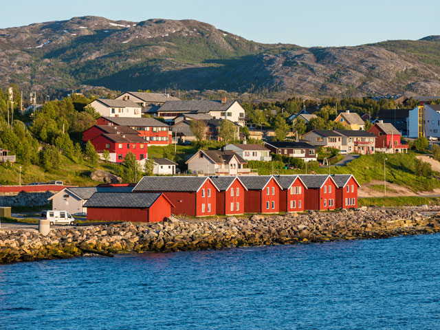 Red bay houses, Alta, norway