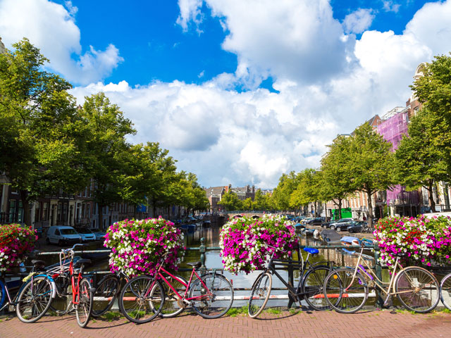 Bikes and flowers on canal bridge, Amsterdam