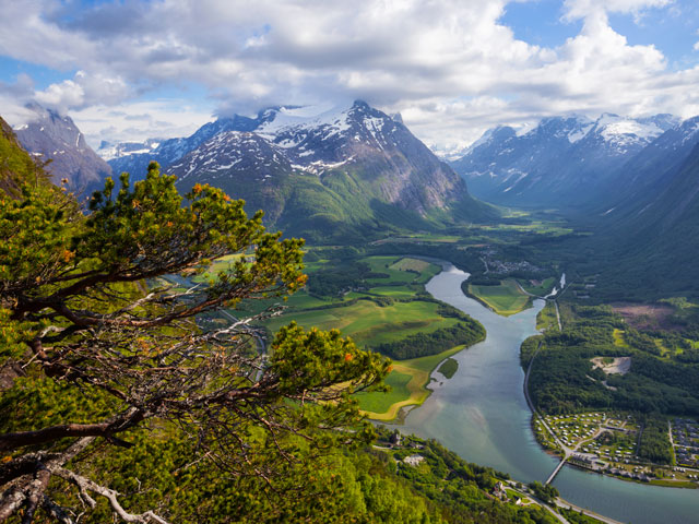 Beautiful views of river running through hilld in Andalsnes, Norway