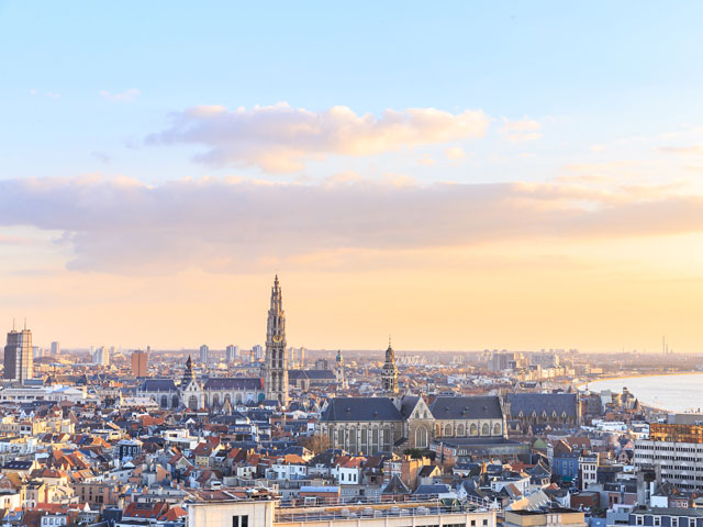 View of Antwerp with Sunrise