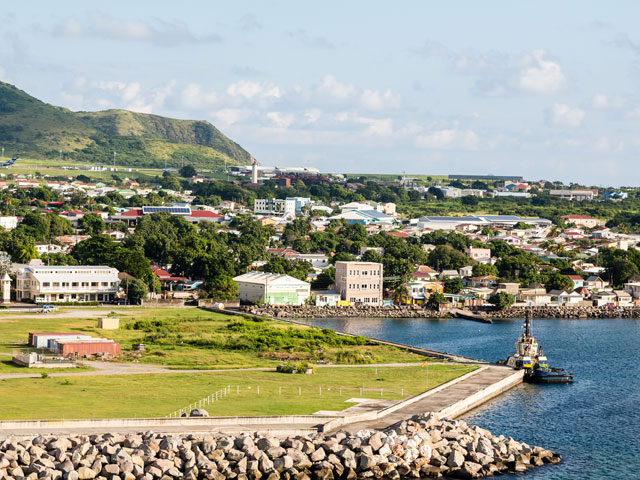 Houses by the river on the hills of Basseterre, St Kitts and Nevis