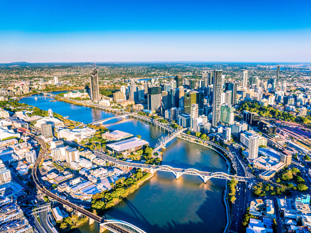 Ariel view of Brisbane city and river, Australia