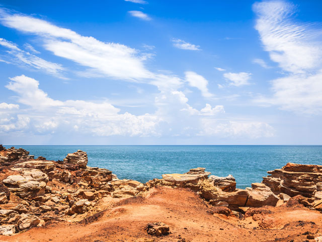 Broome sandy landscape and sea, Australia