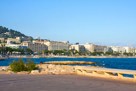 City of Cannes with its famous croisette and marina on the Azure coast