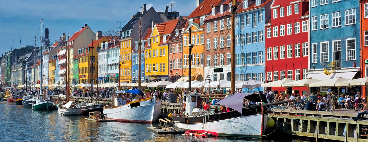 Nyhavn waterfont in Copenhagen, Denmark