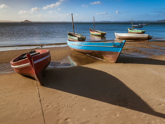 Traditional boats on the beach in Diego Suarez, Madagascar