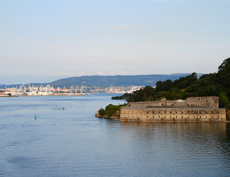 El Ferrol Castel de Palma Mugardos Spain and the harbor of Ferrol