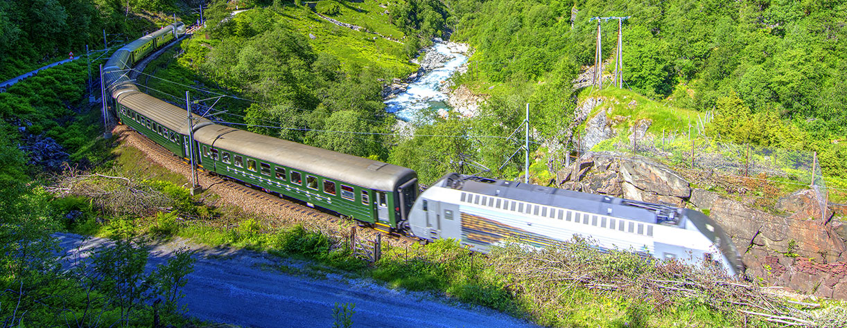 Flam railway through the hills of Norway