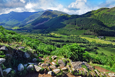 Greens hills and mountain range in Fort William, Scotland