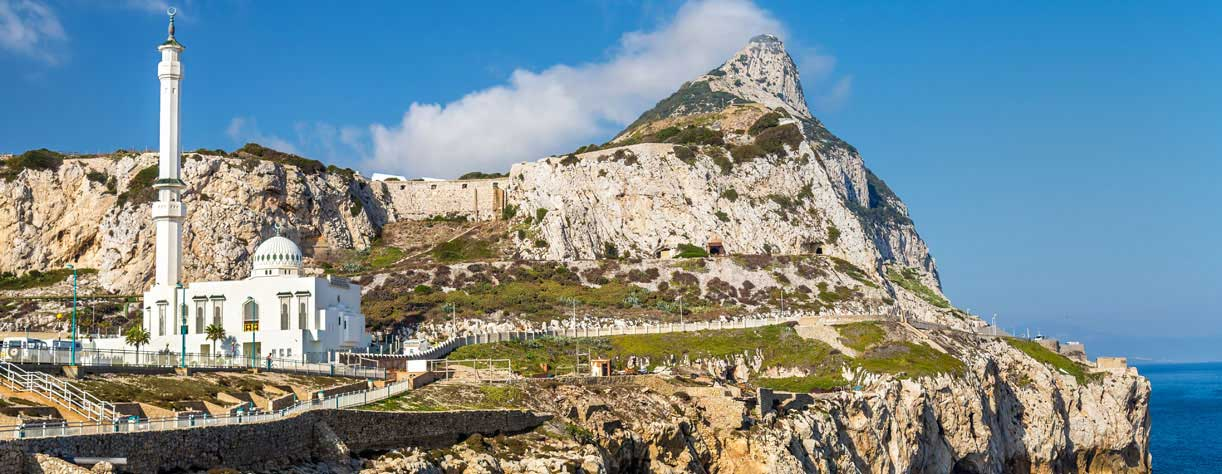 Ibrahim-al-Ibrahim Mosque on the rocks of Gibraltar
