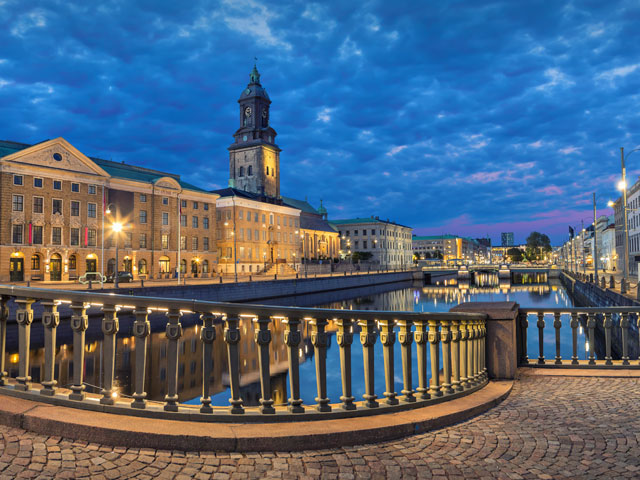 Panoramic view on the embankment from Residence bridge in the evening, Gothenburg