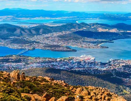 Ariel panoramic view of Hobart and its vicinity from the Mount Wellington peak