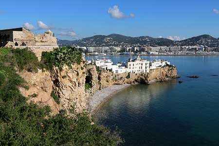 Panoramic view from the castle in Ibiza, Spain