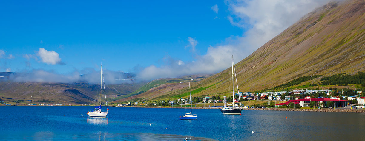 Beautiful Icelandic Summer landscape with Fjord