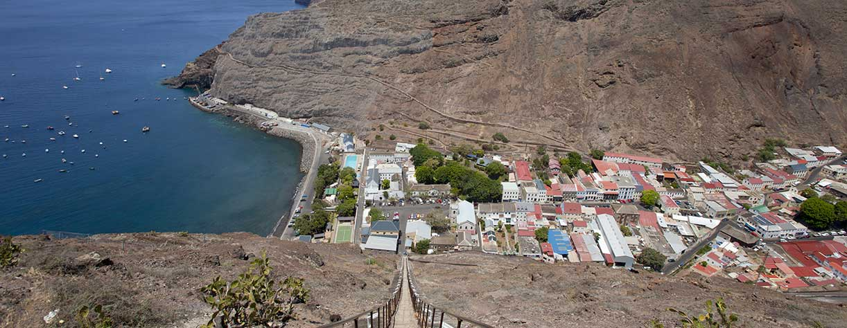 View of Jamestown from the top of Jacobs Ladder, St Helena