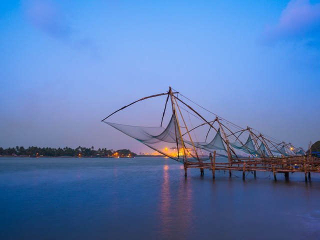Chinese fishing nets over the water in Kochin, India