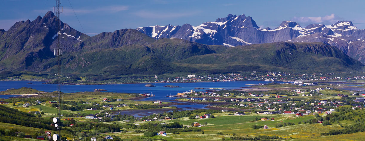 View over Leknes with mountains in background, Norway