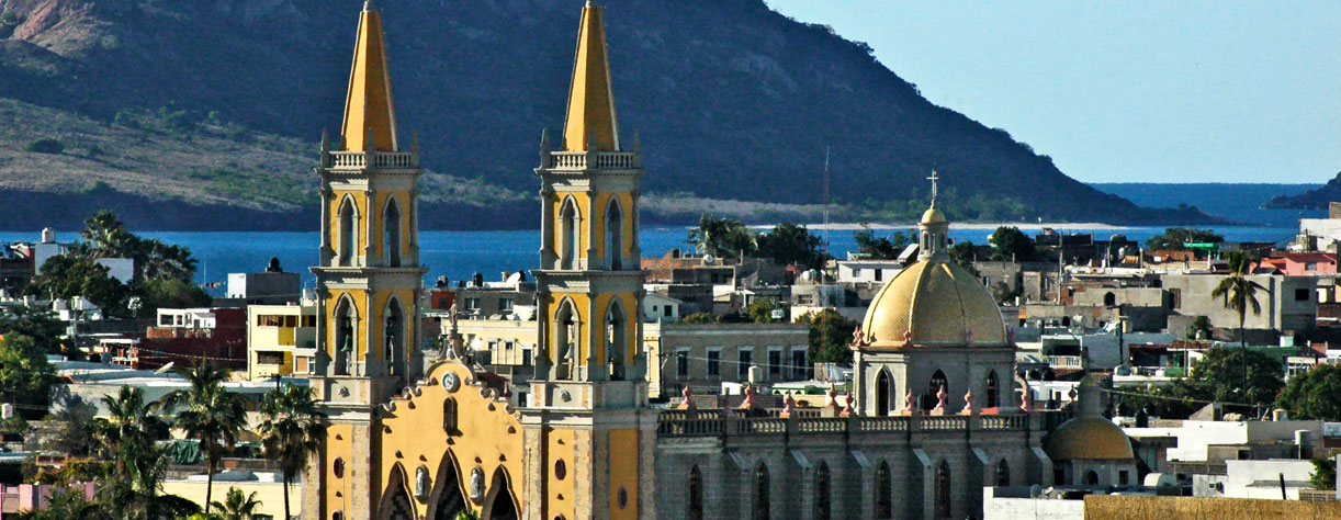 Aerial view of Mazatlan cathedral and the old town as seen from the cruise ship