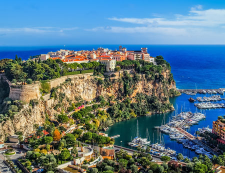 The view of the rock of the city of Monte Carlo in the South of France