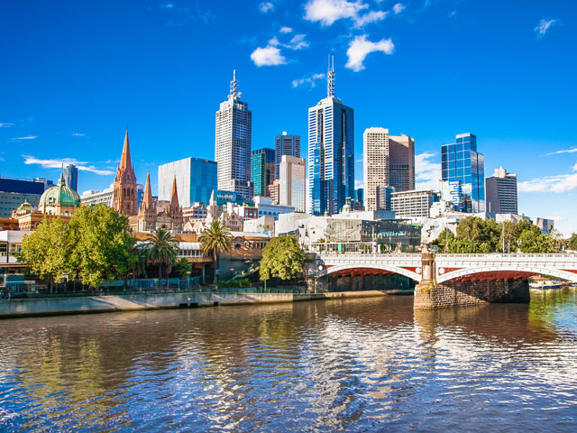 View of Melbourne skyline and skyscrapers, Australia