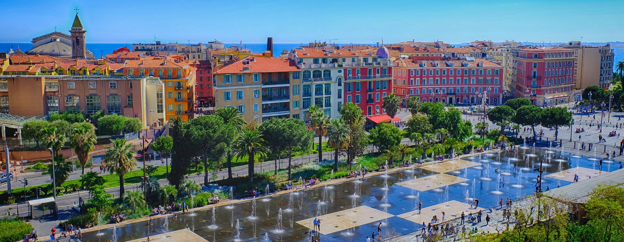 Stunning view of Nice with Promenade du Pailon in forefront