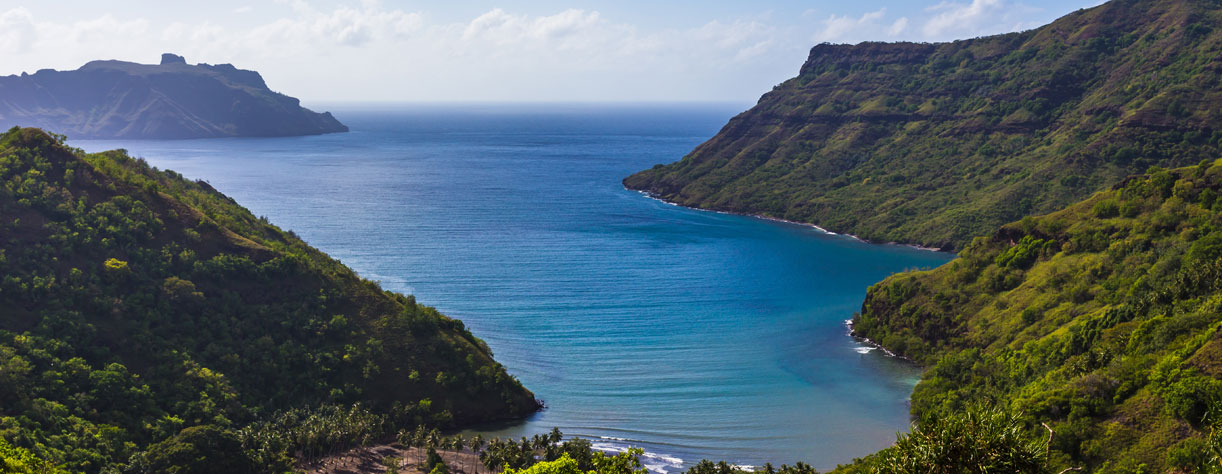 View of the ocean bay on the island of Nuku Hiva, French Polynesia