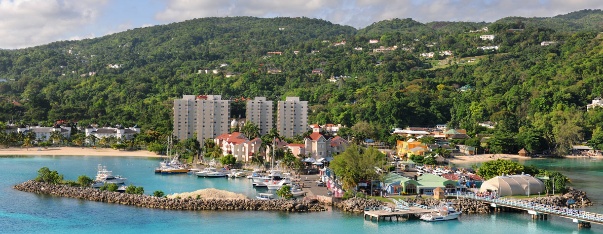 Picturesque view of Ochos Rios and hills in background, Jamaica