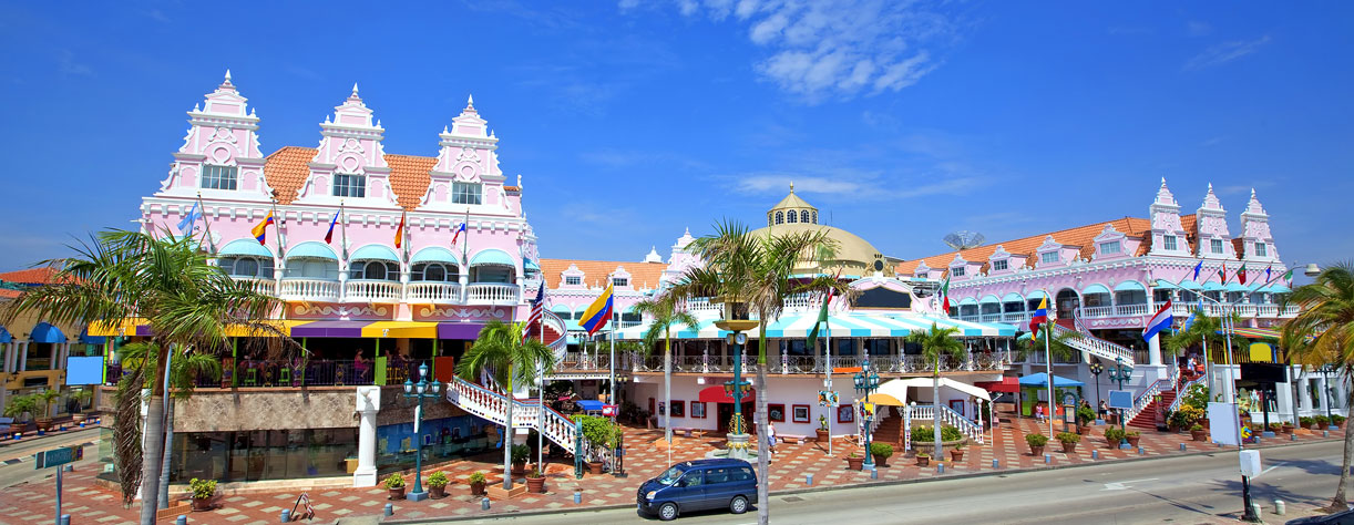 Oranjestad bearch front with local shops, Aruba