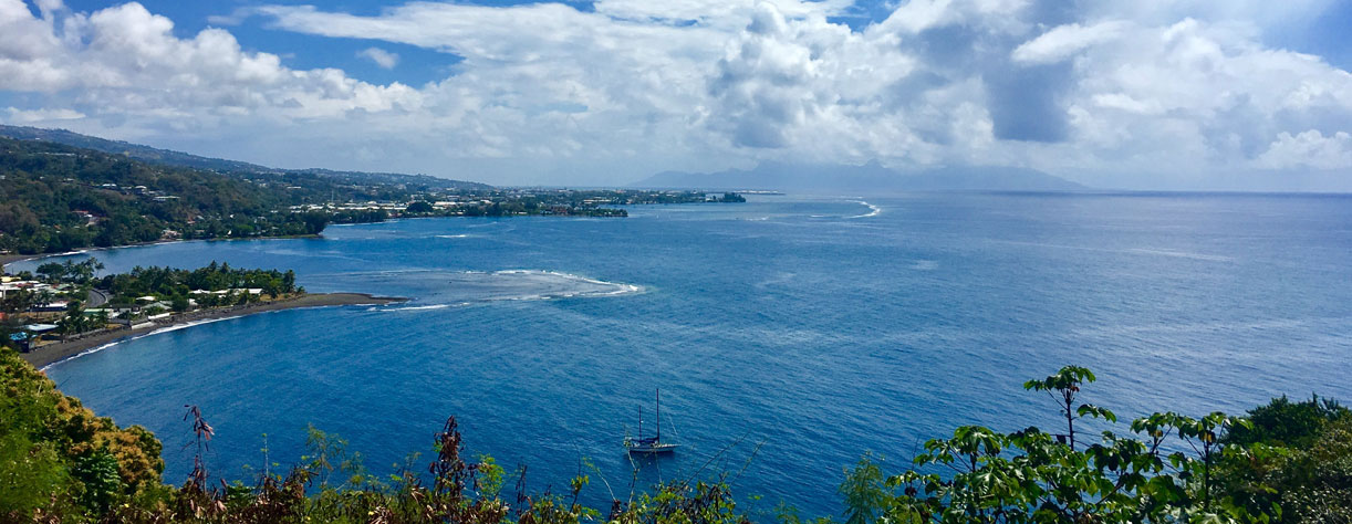 View of Papeete and the ocean from the belvedere Col du Tahara Tahiti
