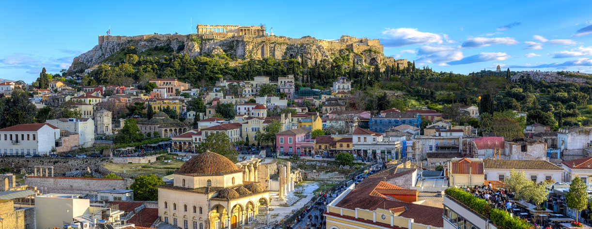 Steeped in ancient history, view of buildigs in the hills of Athens