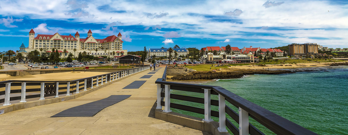 137m long Shark Rock Pier and Hobie Beach in Port Elizabeth