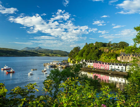 Portree skyline and colourful houses, Scotland