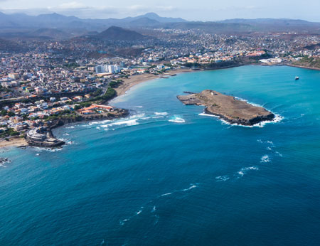 Ariel view of Praia city in Cape Verde