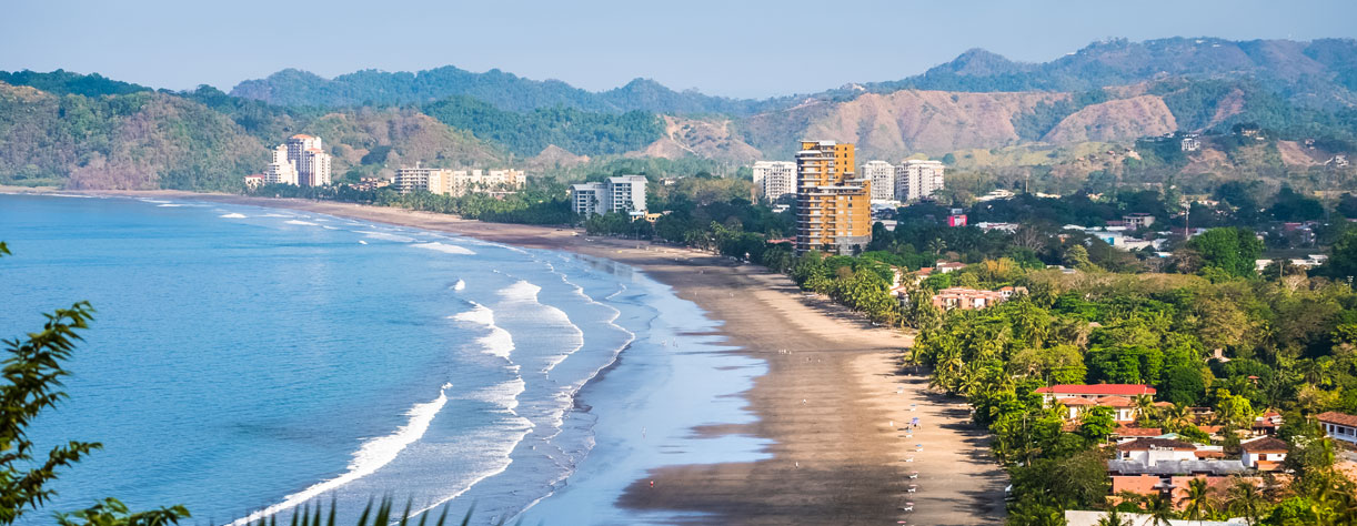Tropical sandy beach in Puerto Caldera, Costa Rica