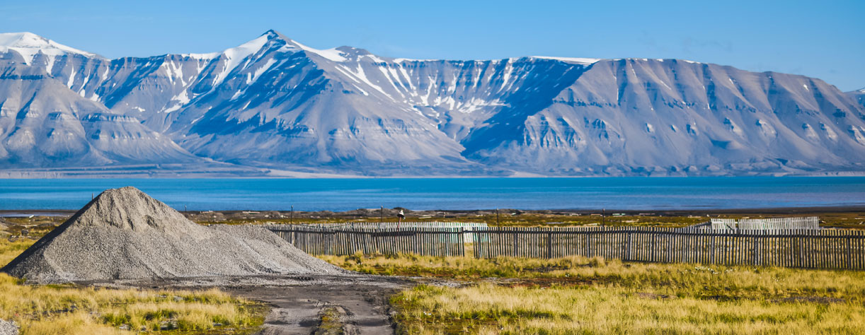 Pyramiden, picturesque view with background mountains