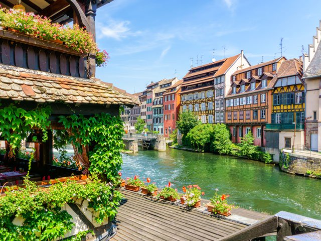 Colourful houses on the river in Little France, Strasbourg France