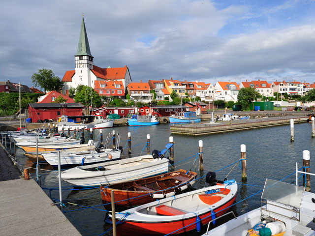 Ronne Marina and white church in Bornholm Denmark