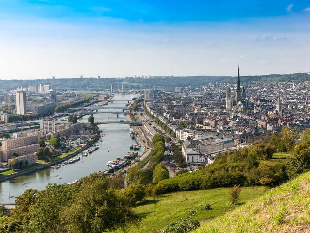 Ariel view of Rouen and river, France