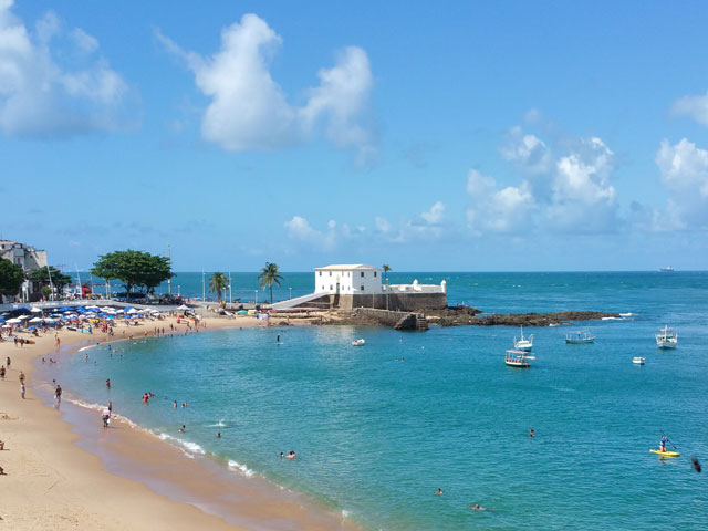 Famous Beach of Porto da Barra in Salvador Bahia Brazil